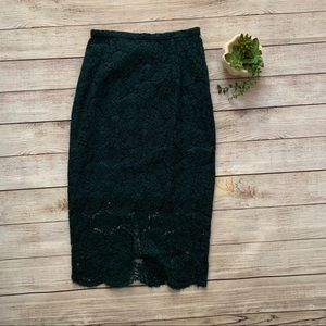 H&M Emerald Green Lace Pencil Skirt